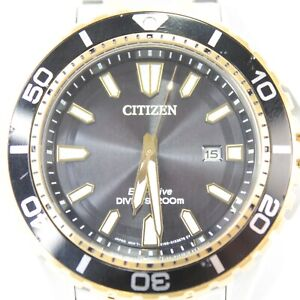 Mens Citizen Eco Drive Divers wrist watch stainless steel E168 light powered