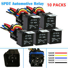 10 Packs 12V 40 Amp 5-Pin SPDT Automotive Relay with Wires & Harness Socket Set