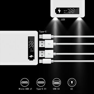 M6 WITH LCD SCREEN LED LIGHT PORTABLE USB TYPE-C POWER BANK  DIY18650