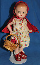 "Rare Antique 1930's-Effanbee~Patsyette~9""~Red Riding Hood doll-very cute"