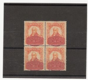 MEXICO 1916 20 CENTS ON 5 CENTS BARRIL OVP TRIAL COLOR PROOF BLOCK OF FOU (E992)