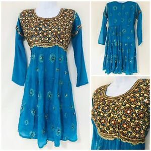 Vintage Inspired Dress Size 12 Frida Kahlo 20s Flapper Blue Mexican Retro Beaded