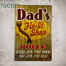 Vintage Metal Dads Garage Sign. Dad's Shop Need to Have Rules:Small Job