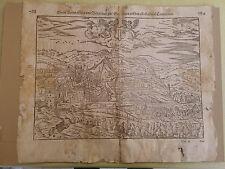 1544-78 Antica mappa di Baden Munster Cosmographia Universalis Kandel