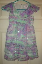 JUSTICE~girls~FANCY/summer/GREEN/LAVENDERS/WHITE/LINED/DRESS! (6)NEW! Free/Ship!