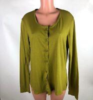 FLAX Womens Shirt Green 100% Cotton Button Front Long Sleeve Size M