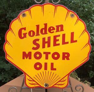 VINTAGE GOLDEN SHELL MOTOR OIL CLAM PORCELAIN SIGN GAS PUMP PLATE GASOLINE