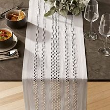 """Crate & and Barrel JEMME WHITE Table Runner- 14"""" x 120"""" NEW- NWOT!"""
