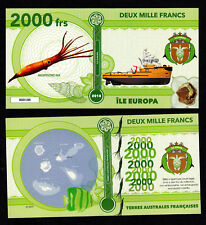 ★★★ ILE EUROPA ● TAAF ● BILLET POLYMER 2000 FRANCS ★★★ COLONIE FRANCAISE