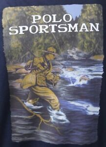 Polo Ralph Lauren Fishing Sportsman Navy Long Sleeve Crewneck Tee T-Shirt NWT