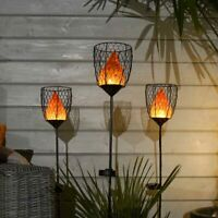 Solar Novelty Fire Flame Torch Lantern LED Stake Light | Garden Party Outdoor