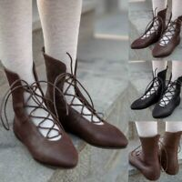 Retro Women's Ankle Boots Lace-up Low Heels Pointed Toe Casual Shoes US 4.5-13