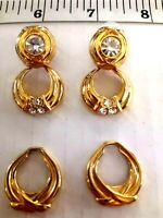 Vtg Gold Tone & Rhinestone NOLAN MILLER  Convertible  PIERCED Earrings Signed