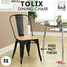 8 x Replica Tolix Dining Chair Xavier Pinewood Seat Home Cafe/Pub, Black Color