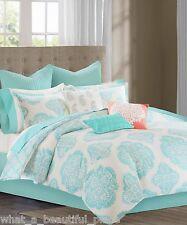 13-Pc Echo Bindi King Comforter Set Modern Aqua Blue Pink Paisley Medallion