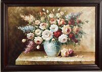 """T. DENVER Gorgeous Oil On Canvas Still Life Of Florals in Vase 41""""x29"""" Framed"""