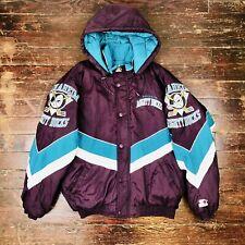 VTG 90's NHL Anaheim Mighty Ducks Logo Starter Color Block Hooded Puffer Jacket