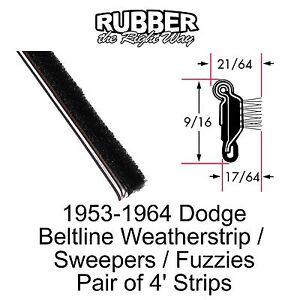 1956 1957 1958 1959 1960 1961 1962 1963 1964 Dodge Window Beltline Seal - Sweeps