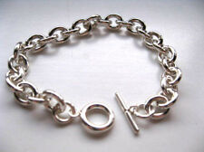 9 inch Sterling Silver Heavy Link Charm Bracelet with Toggle Clasp Designer's