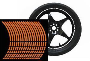 NEW wheel rim tape striping stripes stickers FLUORESCENT orange.(36 piece 8p/w)