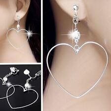 #E121Y Pair Women CLIP ON EARRINGS Dangle Heart Hoop Crystal Lovers Great Gift