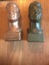2 Kennedy Statues: Ceramic Molds Slogan JFK Vintage