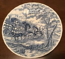 Vintage Dinner Plates Churchill Royal Mail Blue Wessex Stage Coach Plate England