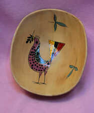 UNUSUAL dotted BIRD  Hand Painted   Bowl 7x8""