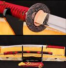 Full Tang 1060 Carbon Steel KATANA Japanese Samurai Sword Sharp Blade Red Ito