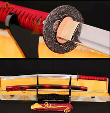 Full Tang 1060 Carbon Steel KATANA Japanese Samurai Sword Sharp Blade Red Ito