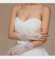 White/Ivory Crystal Wedding Bridal Glove Accessory Beaded Lace fingerless~glovCa