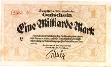 1923 Germany REICHSBAHN 1.000.000.000 / 1 BILLION MARK banknote