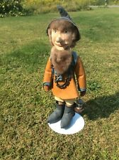 Wood Folk Art Sculpture, Man Dressed In Indigenous Cold Weather Clothing