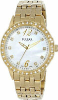 Pulsar Night Out Yellow Gold Plated White Pearl Dial Steel Women Watch PH8052
