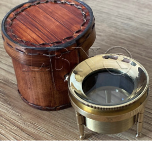 Solid Brass Tripod Paperweight magnifying glass with protective leather case
