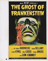 "2003 Vintage Horror "" GHOST OF FRANKENSTEIN "" MINI POSTER   Art Plate Lithograph"