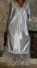 M TALL  SHINY BABY BLUE VINTAGE SATIN LINGERIE GRANNY SLIP LONG SLEEVE NIGHTGOWN