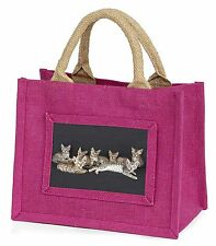 Bengal Kittens Posing for Camera Little Girls Small Pink Shopping Bag , AC-29BMP