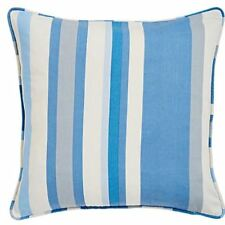 2x estampado rayas verticales Azul Gris Crema Tubería 45.7cm-45cm Fundas Cojín