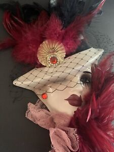 Very Unique Creations Porcelain Lady Face Mask Mystery Maroon Feather R3