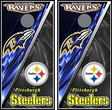 Baltimore Ravens & Pittsburgh Steelers 0159 cornhole board vinyl wraps stickers