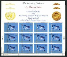 UN - All 3 Offices . 2001 Nobel Peace Prize (3 Sheets of 12) . Mint Never Hinged