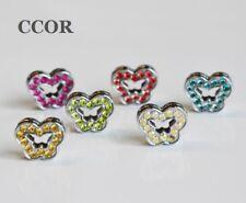 10PCs 8mm Colorful Full Rhinestone Butterfly Slide Charms Fit 8mm Belts Bracelet