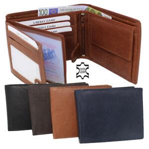 Leder Geldbörse Geldbeutel Portemonnaie Börse Quer Brieftasche Damen Herren