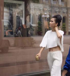 Zara STUDIO Ivory Crop Top. Size M