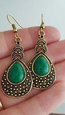 pendientes dorados con piedra verde örhänge boucles earrings nuevos orecchini