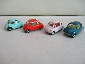 Corgi Toys Heinkel Bubble Car x3 & Spot-On Triang BMW Isetta - Vintage Diecast