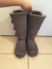 UGG Women's Bailey Button Triplet Winter Boots, Grey Size 7M