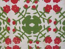 """Antique c 1850s Red Green APPLIQUE Album Quilt Beautiful Quilting 87"""" x 86"""""""