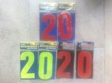 3 House Number 20 Wheelie Bin Numbers High Visibility Reflective Red & Yellow